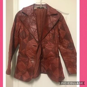 Vintage patchwork leather blazer size 7/8